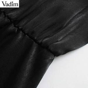 Image 3 - Vadim women chic ruffled black mini dress V neck elastic waist long sleeve party club fashion casual dresses vestidos QD054