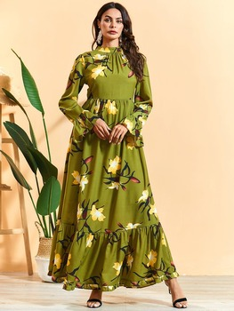 Fashion Women Floral Printed Turkish Islamic Clothing