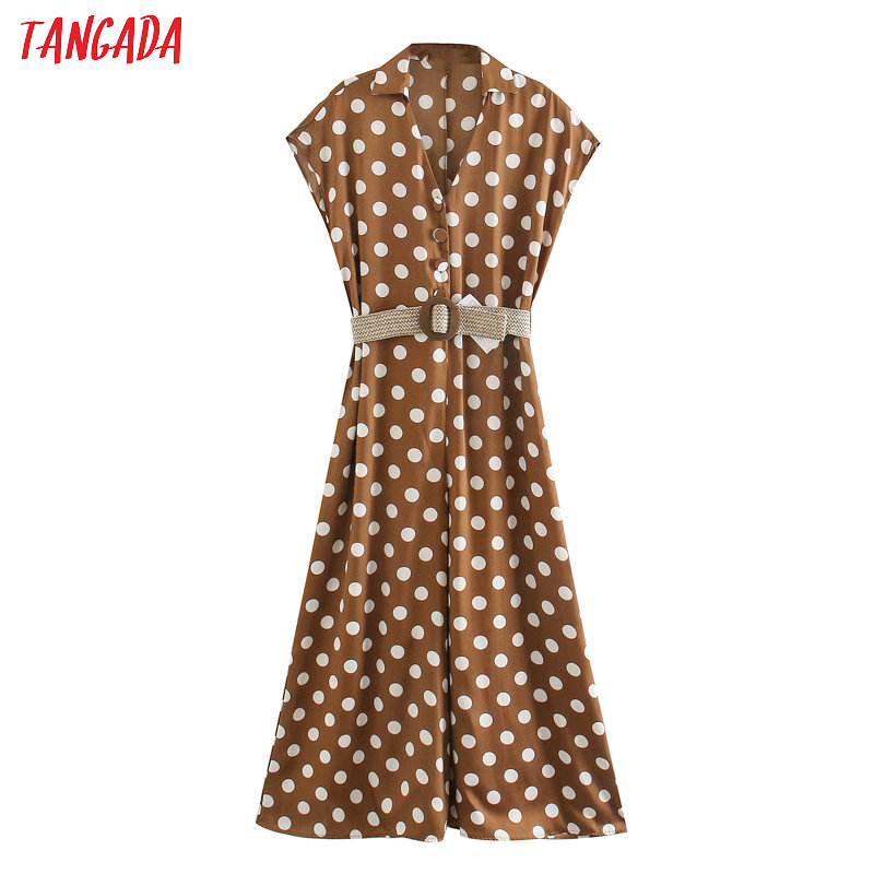 Tangada Women Summer Dots Print Long Jumpsuit With Belt Short Sleeve Pocket Female Office Jumpsuit 5Z160