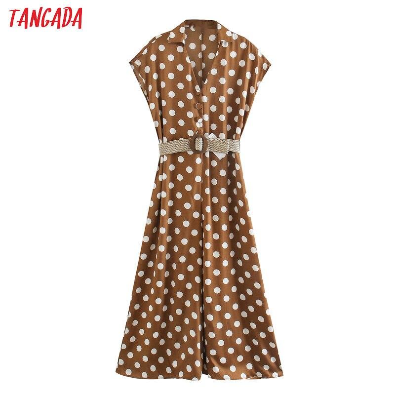 Tangada Women Summer Dots Print Long Jumpsuit With Belt Short Sleeve Pocket Female Office Jumpsuit 5Z160