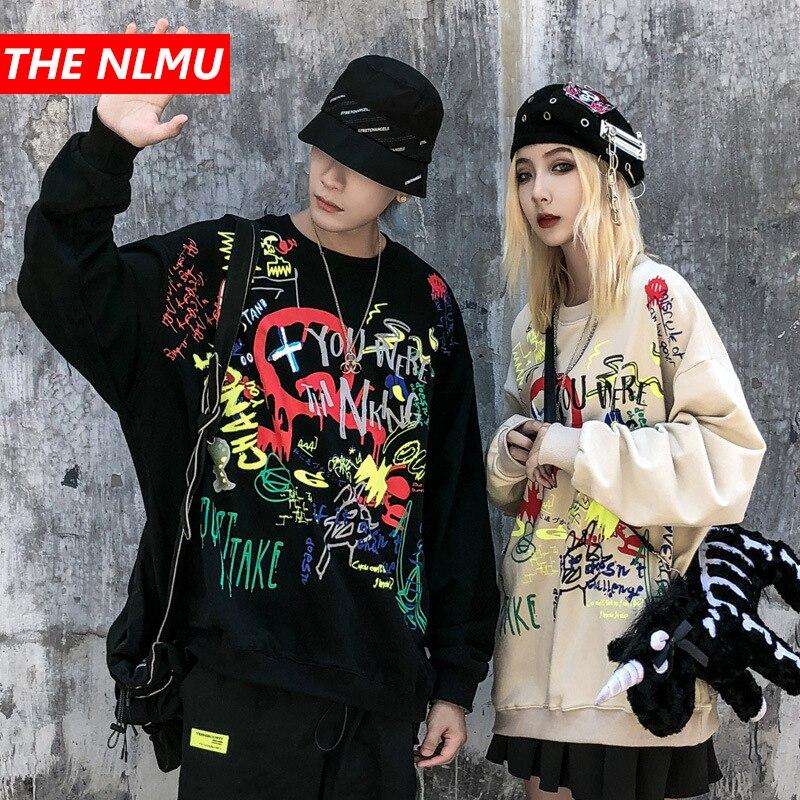 Harajuku Pullover Men Women Creative Graffiti Print Sweatshirts Mens Hipster Rock Hip Hop Streetwear Sweat Shirts Hoodies WG686