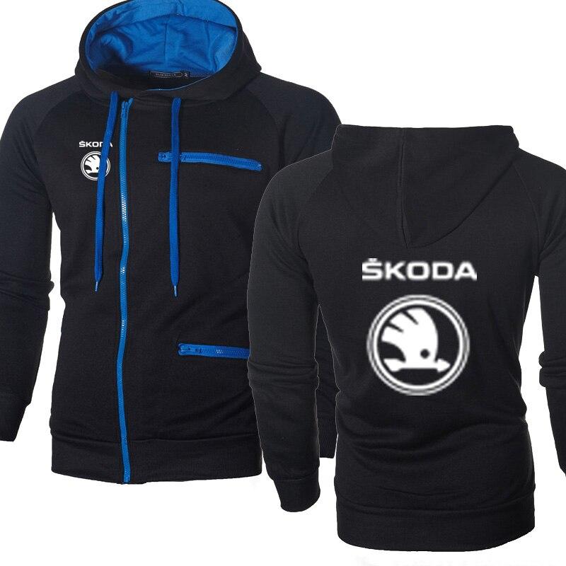 Men Hoodies Skoda Car Logo Print Casual HipHop Harajuku Long Sleeve Fleece Warm Hooded Sweatshirts Mens Zipper Jacket
