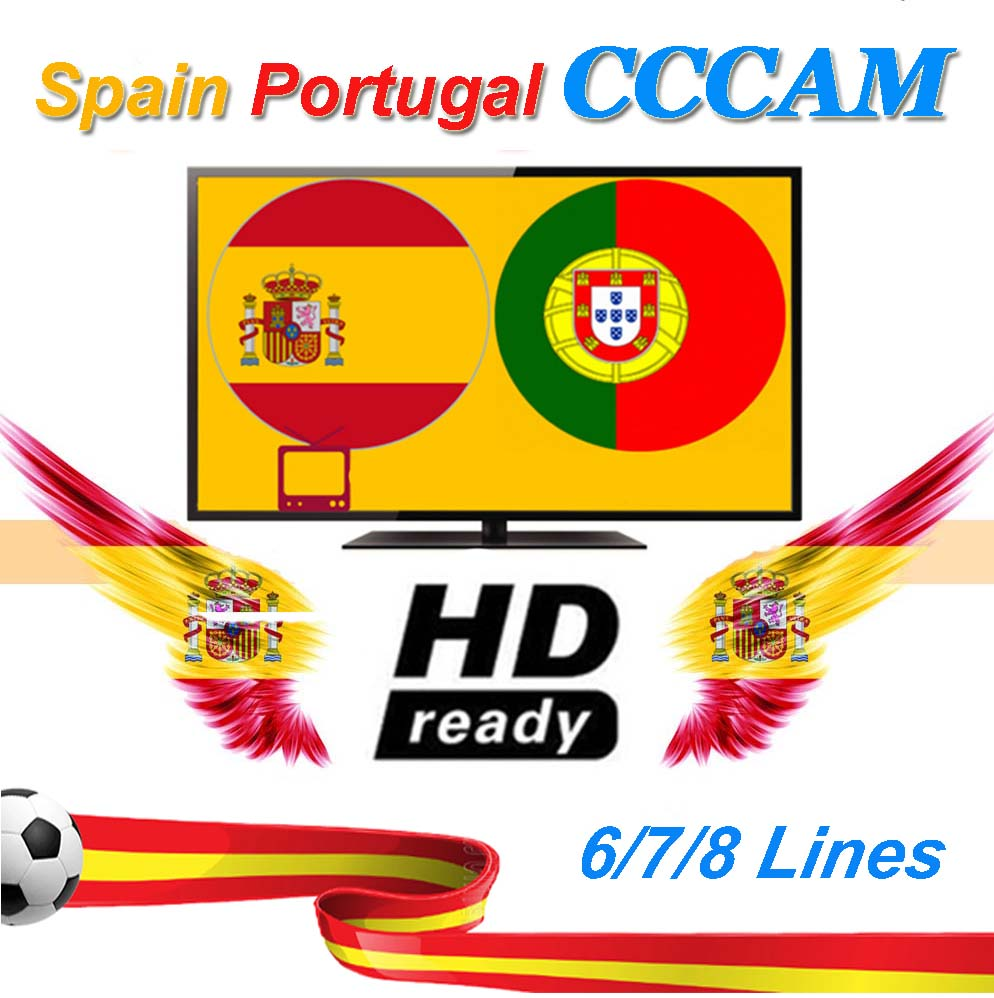 2020 Newest Fast Stable Europe 7 Lines Cccam For 1 Year Spain Portugal Satellite Share Server Support DVB-S2 Satellite Receiver