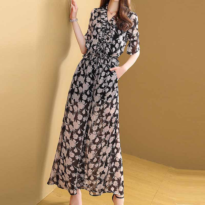 Ozhouzhan Floral Summer Loose Pants WOMEN'S Suit 2019 New Style Elegant Fashionable Western Style Two-Piece Set