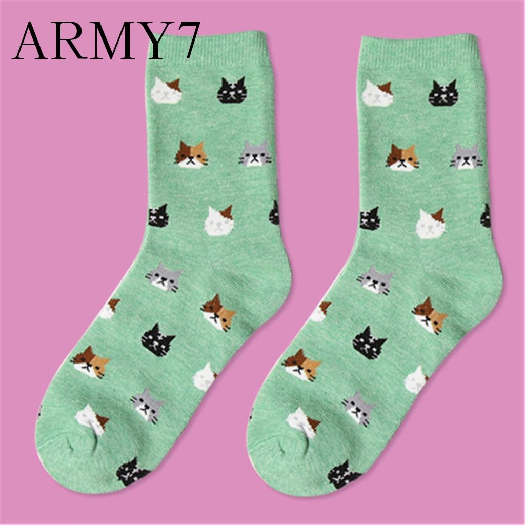 Drôle chat conception équipage chaussettes pour robe enfants filles femmes nouveauté coton chaussettes décontracté fou impression maison plancher chaussettes cadeaux Meias Soxs