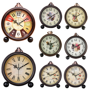 Retro Silent Alarm Clock Round Office Roman Numerals European Style For Home Modern Vintage Desktop Glass Lens Battery Operated