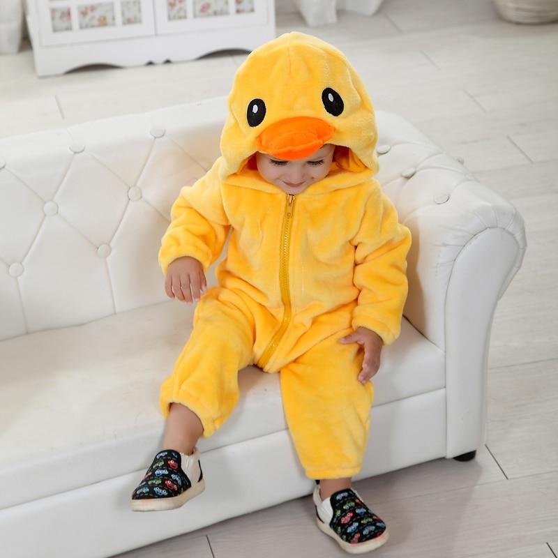 Umorden Baby Yellow Duck Costume Cosplay Kigurumi Cartoon Animal Rompers Infant Toddler Jumpsuit Flannel Halloween Fancy Dress