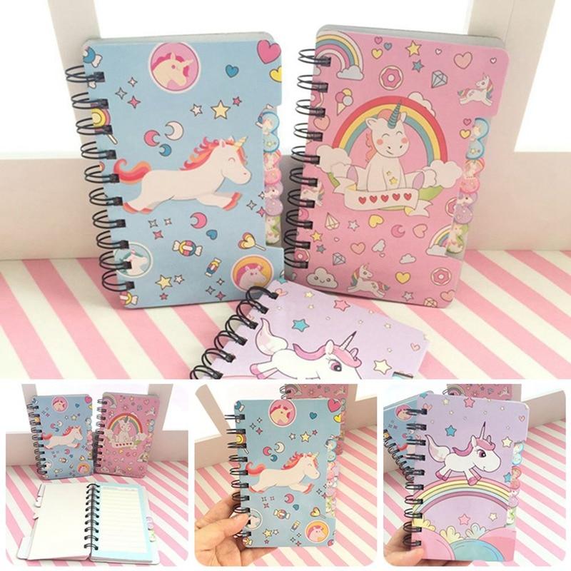 Small Fresh Unicorn Coil Book Diary - Color Random Single 56 / PC Cute Cartoon Children Student Office Supplies 2021