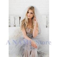 Voile de mariée en Tulle avec peigne, une couche, Long, Gris, 2019