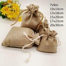 20 pçs juta zak juta saco de cordão de linho saco de presente jutte zakjes diy pacote de saco de juta artesanal festa de natal casamento bolsa de jóias