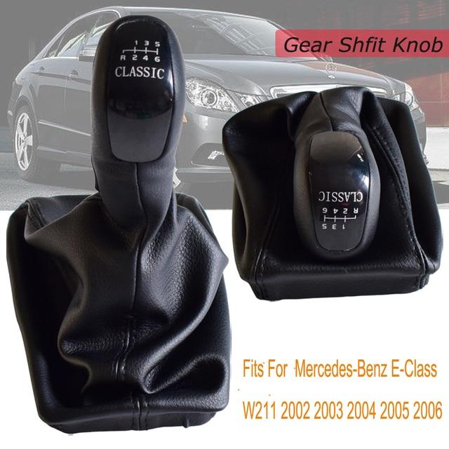 Auto 6 Geschwindigkeit Schaltknauf Ebene Knob Mit Leder Boot Für Mercedes Benz E Klasse W211 S211 2002 2003 2004 2005 2006   2009