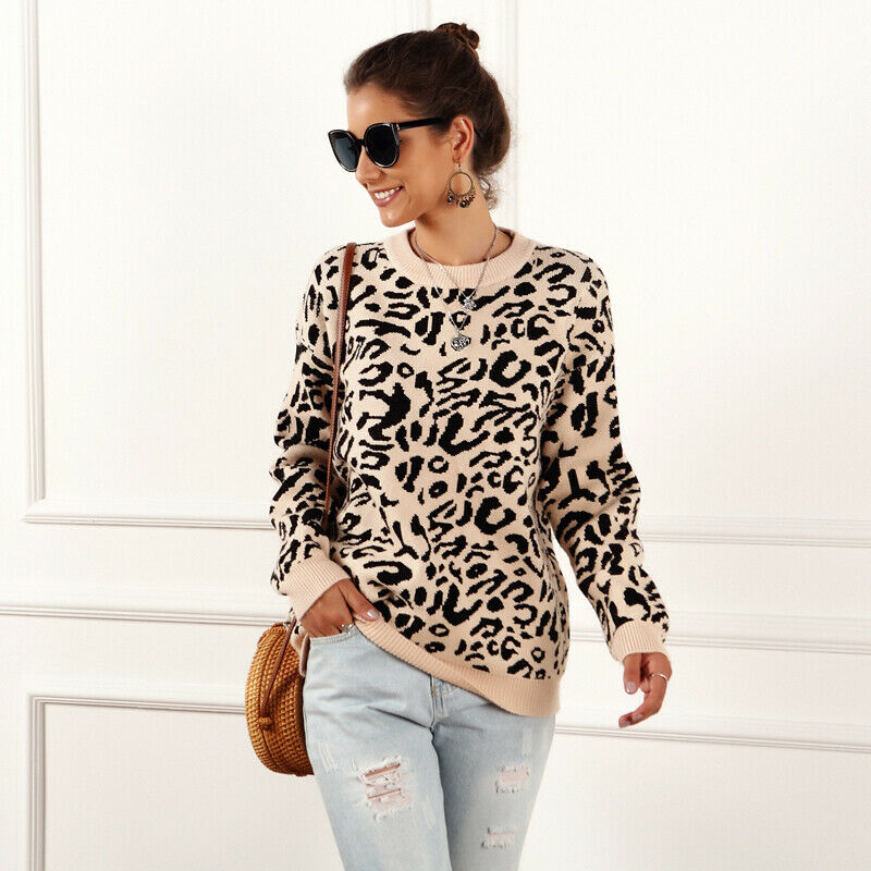 Fashion Autumn Loose Knit Female Leopard Print Jumper Long Sleeved Knitted Sweater Women Soft Pullovers Winter Coat Women hot