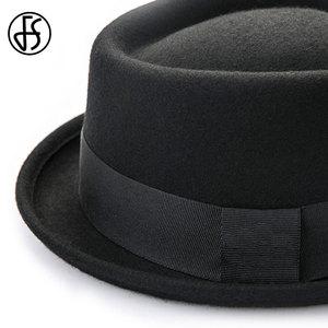 Image 4 - FS Vintage porc tarte chapeau hommes à large bord laine feutre Fedora noir chapeau Mans église Jazz ruban Trilby Panama Gangsters casquettes