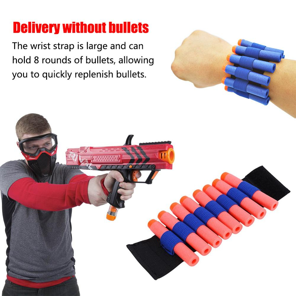 Elastic Wrist Strap Safety EVA Bullets Wristband Clip Soft Darts Ammo Storage Bullets For Nerf Gun Access Wrist Belt Eva Toy Gun