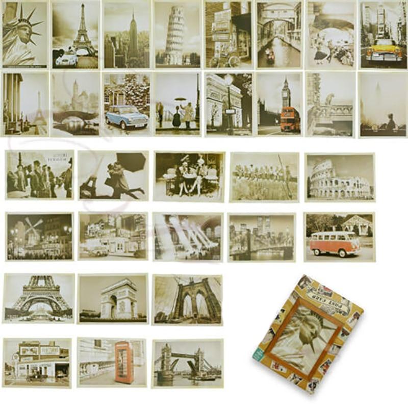 32pcs Travel Postcard Vintage Landscape Building Photo Picture Poster Post Cards