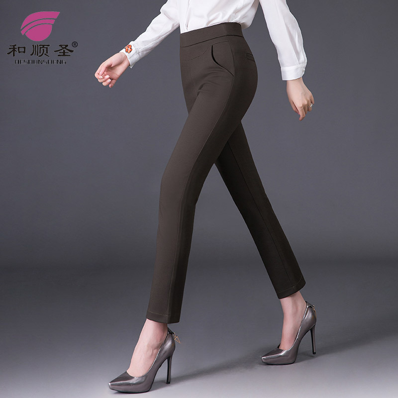 Winter Brushed And Thick Casual Pants Women's Large Size Fat Mm High-waisted Slimming Loose-Fit Smoke Tube Straight-leg Pants Bu
