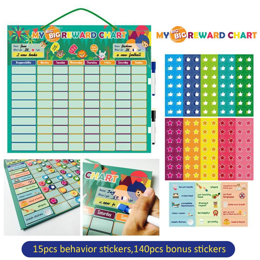 Kids Reward Charts With Magnetic Sticker Wall Card Good Behavior Development Chart Educational Toys For Toddlers Kids Aliexpress