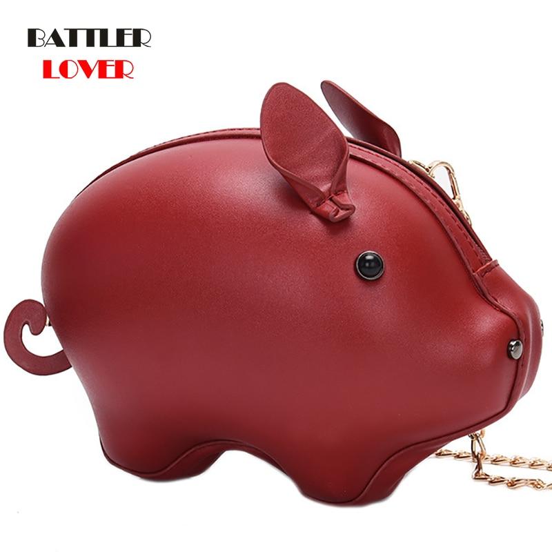 Korean Fashion Leather Womens Bag Pig Small Round Bag Chain Female Shoulder Messenger Bag Wrist Bag Party Clutch Coin Purse 2019