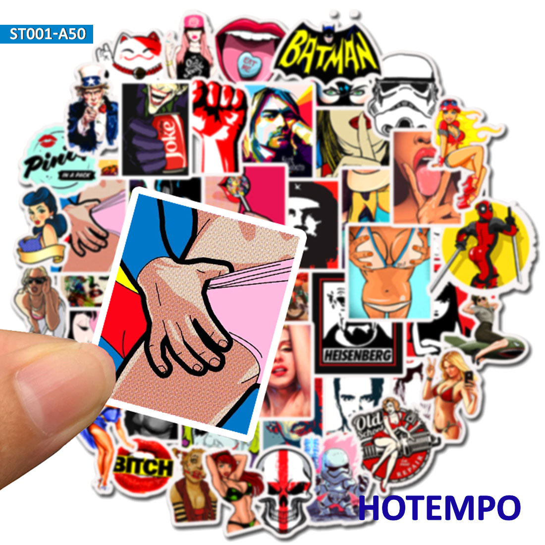 50pcs Mix Sexy Temptation Graffiti Comic Style Fashion Stickers For Mobile Phone Laptop Luggage Case Skateboard Anime Stickers