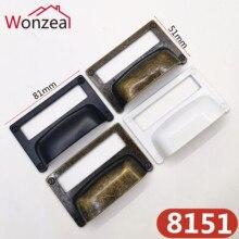81*51mm negro antiguo bronce etiqueta pull marco tarjeta titular de papel manija de gran tamaño titular Biblioteca Archivo cajón cofre blanco