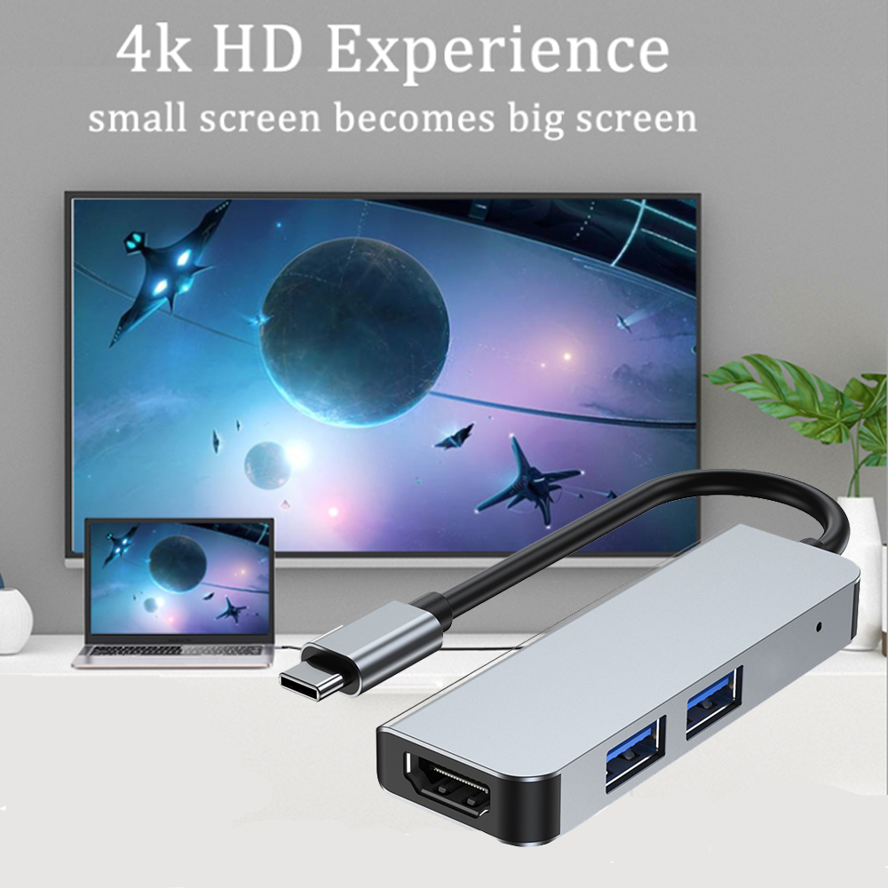 Type C DockingStation Cast Screen ForGame Movie Projector Adapter MacbookLaptop Mobile Phone HUB USB C Compatible HDMI VGA AU