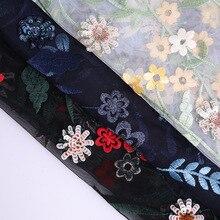 1двор/127см свадебные кружева FabricDress женское платье ткань изысканный черный популярные вышитые шифон новый