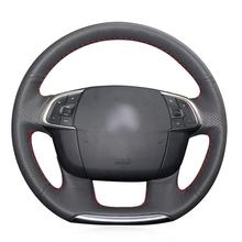 For Citroen C4 C4L Car hand-sewn steering wheel cover black artificial leather for chrysler 300c 200 car steering wheel cover black artificial leather antiskid