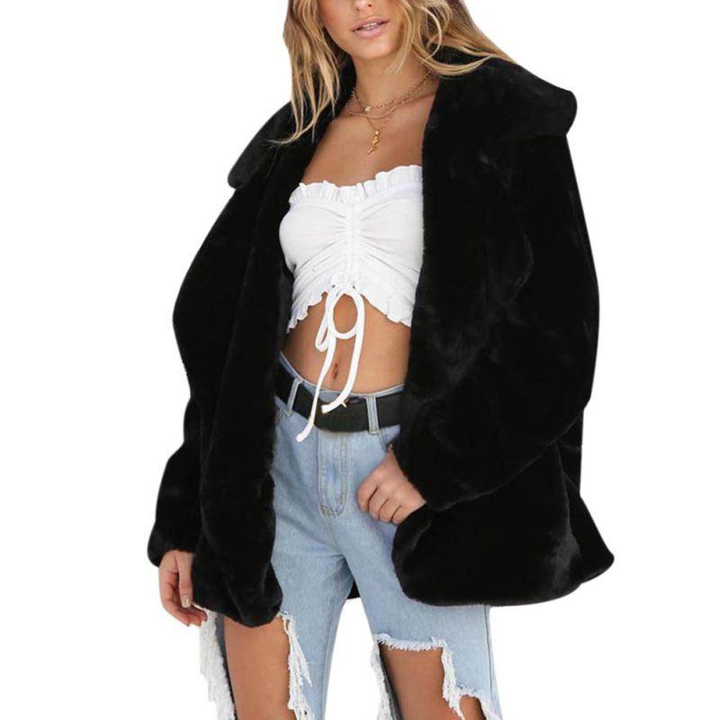 Women Fashion Loose Cardigan Jacket Lady Faux Fur Warm Winter Coat Open Stitch Outwear Rk