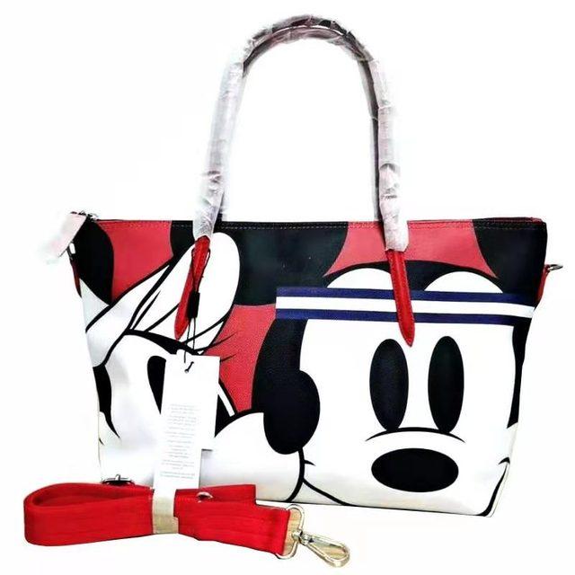 Designer de marca crocodilo mickey impressão dos desenhos animados moda feminina tote ombro bolsa de mão grande casual viagem compras escola bolsa 1