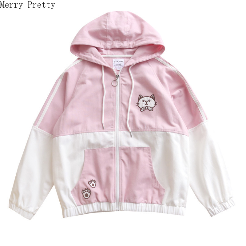 Women Cartoon Cat Embroidery Patchwork Jackets Coats Jacket Zipper Korean Jackets Long Sleeve Casual Outerwear Female Tops