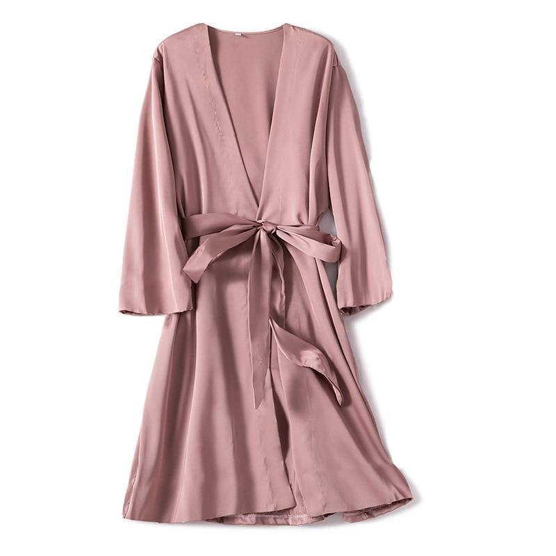 Satin Robe Female Intimate Lingerie Sleepwear Silky Bridal Wedding Gift Casual Kimono Bathrobe Gown Nightgown Sexy Nightwear