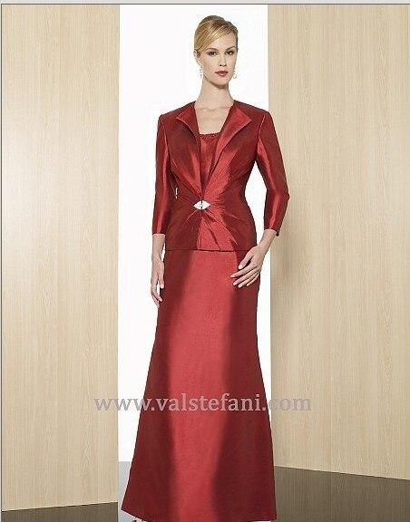 Free Shipping 2016 New Arrival Maxi Women's Vestido De Festa Red Long Taffeta Elegant Mother Of The Bride Dresses With Jacket