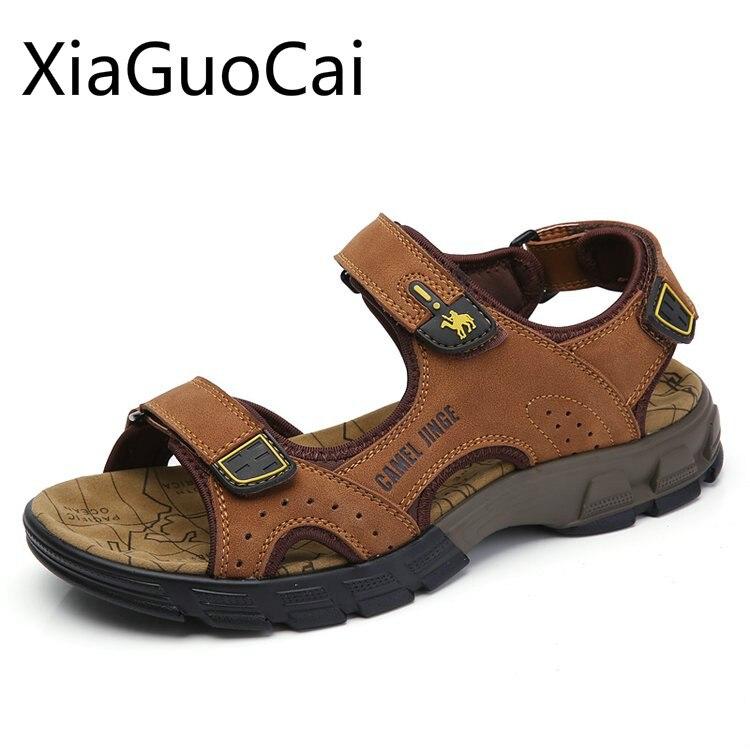 Big Size 45 Summer New Men's Sandals Shoes Leather Camel Soft Men's Sandals Waterproof Lightweight Male Flat Sandals