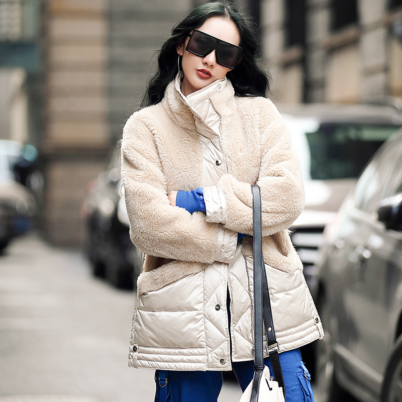 Coat Fur Real Winter Jacket Women Sheep Shearling Down Jacket Women 100% Wool Coat Korean Jackets Manteau Femme MY4741 S