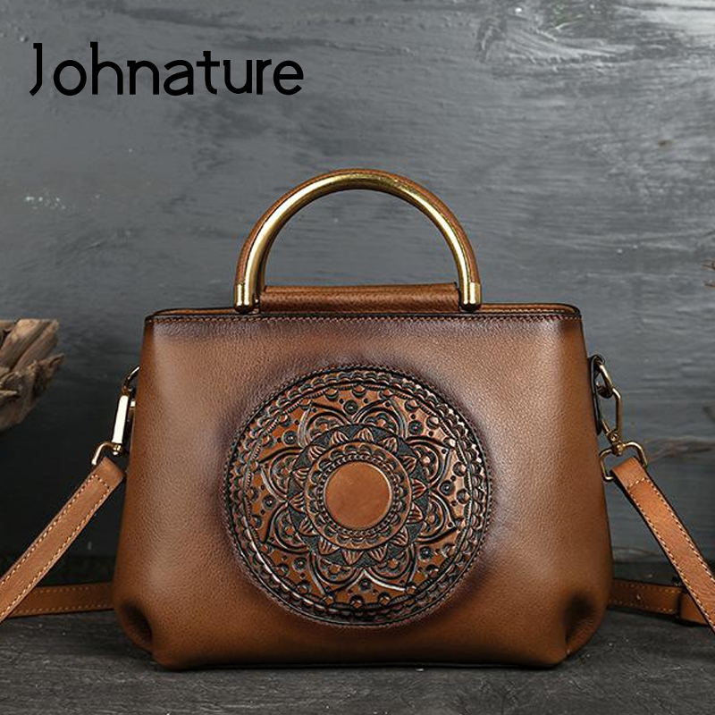 Johnature 2020 New Luxury Handbags Women Bags Designer Leisure Cowhide Genuine Leather Large Capacity Shoulder & Crossbody Bags