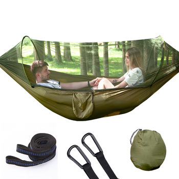 Automatic Unfolding Hammock Ultralight Parachute Hammock Hunting Mosquito Net Double Lifting Outdoor Furniture Hammock 250X120CM ultralight outdoor camping hunting mosquito net parachute hammock 2 person flyknit hammock garden hammock hanging bed