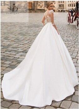 SoDigne 2019 July Wedding dress Long Sleeve Boho Bride Dresses For Women A Line Ivory Lace Appliques  Satin Wedding Gown 5