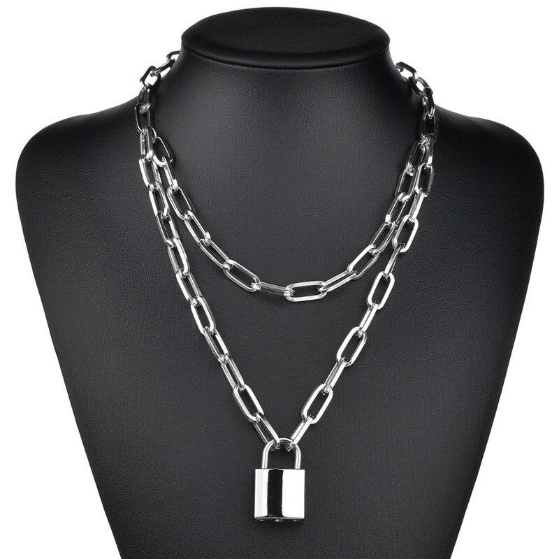 Женская цепочка на замке, двухслойная цепочка на шею с цепочкой в стиле панк, Готическая бижутерия