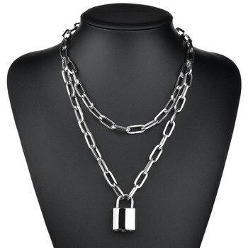Fashion Padlock Key Cross Double layer Lock Chain necklace on neck Punk Link Chain Pendant Necklace Women Gothic Jewelry double layer chain necklace punk 90s chain silver color pendant necklace women aesthetic jewelry xl252