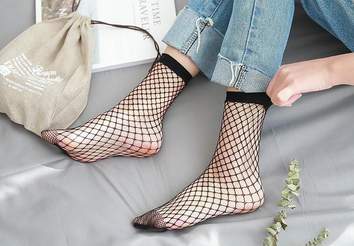 Mesh Femme Sexy Meia Sokken In The Net Fishnet Sock Kapron Paragraph Hollow Ankle Women's Socks Meias Calcetines