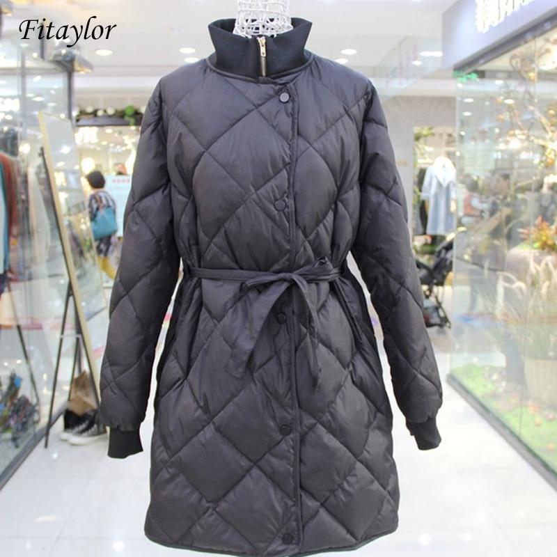 Fitaylor Winter Jacket Women Ultra Light 90% White Duck Down Parkas Female Turtleneck Collar With Belt Slim Long Jacket Coats