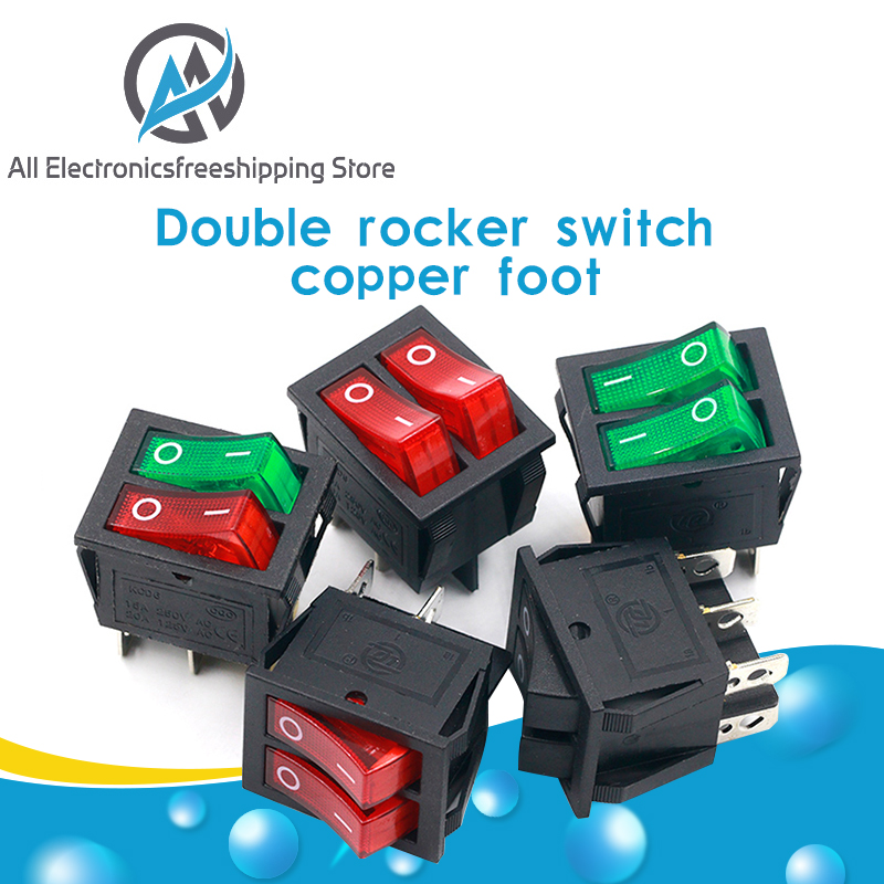 1PCS KCD8 6PIN 16A 250V 20A 125V Double Light Switch Rocker Switch Waterproof ON-OFF KCD6 Boat Power