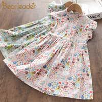 Bear Leader-Vestido de princesa con estampado de dibujos animados para niñas pequeñas, vestidos florales de verano, ropa de fiesta de vacaciones para niños pequeños