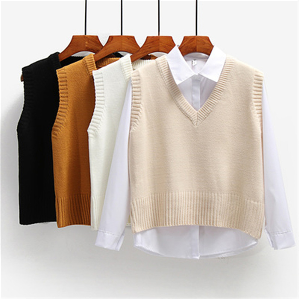 Women Sweater Vest Spring 2021 Autumn Women Short Loose Knitted Sweater Sleeveless Ladies V-Neck Pullover Tops Female Outerwear 1