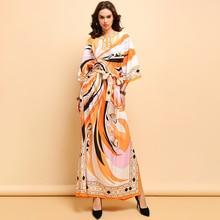 Baogarret Fashion Runway Maxi Long Dress Women's Flare Sleeve Bow Tie Geometric Printed Elegant Casual Loose Dresses цена и фото