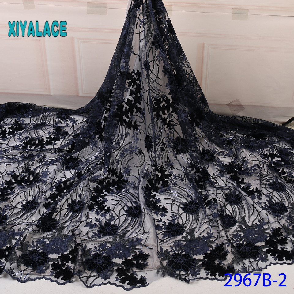 Luxury French Lace Fabric 2019 High Quality African Nigerian Flower Embroidered Tulle Lace Fabric Stones For Wedding YA2967B-2
