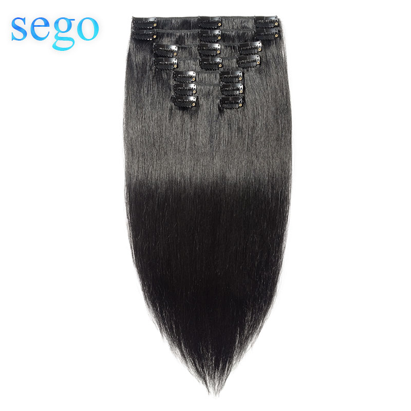 SEGO 10-24inch Brazilian Straight Hair Non-Remy Clip In Human Hair Extensions 8 Pcs/Set 70-120G Pure  Natural Color Clip Ins
