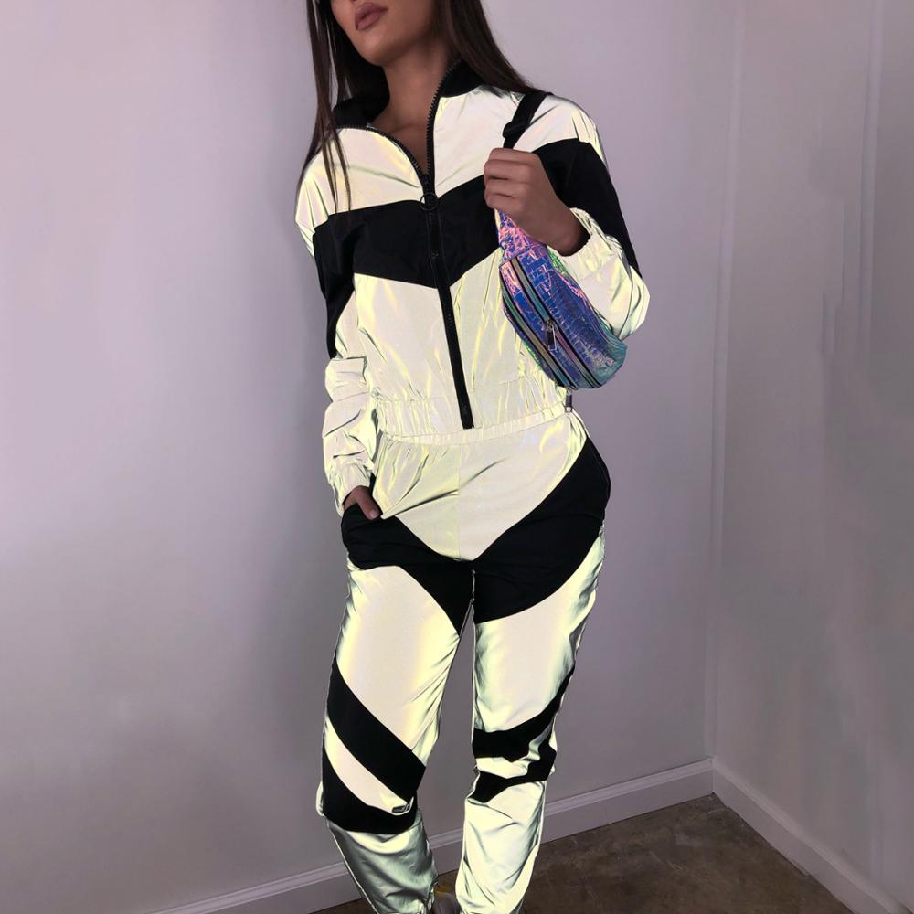BKLD Women New Arrival Fashion Reflective Clothing Zipper Top And Pants 2019 Ladies Loose Zipper Jacket Jogger Pants Trendy Wear