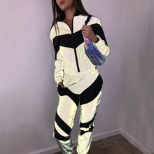 BKLD Women New Arrival Fashion Reflective Two-Piece Suit Zipper Crop Top Pants 2