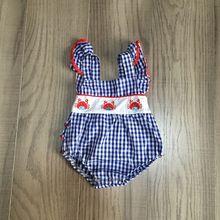 baby kids summer woven romper girls infant toddler plaid blue romper